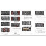 Profesionali įrankių spintelė 177 įrankiai, 6 stalčiai