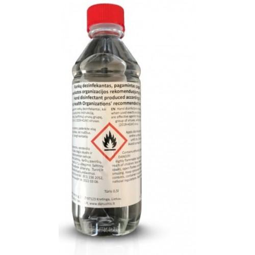 Rankų dezinfekantas, pagamintas pagal Pasaulio sveikatos organizacijos rekomenduojamą formulę Nr. 1.